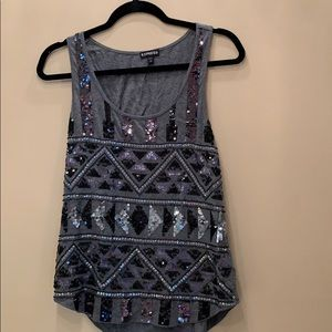 Gray sequin express tank. Size small